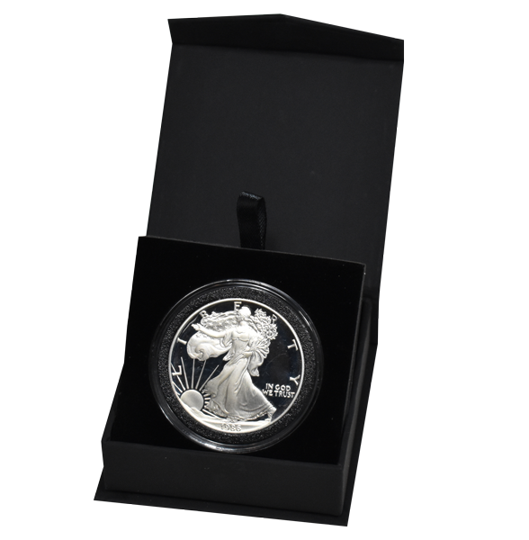 Black Folding Coin Capsule Box with Magnetic Lid and Stand Insert - Extra Large