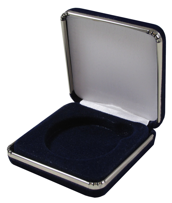 Blue Velvet Slim Coin Capsule Box with Metal Rim on Base and Lid - Large Size