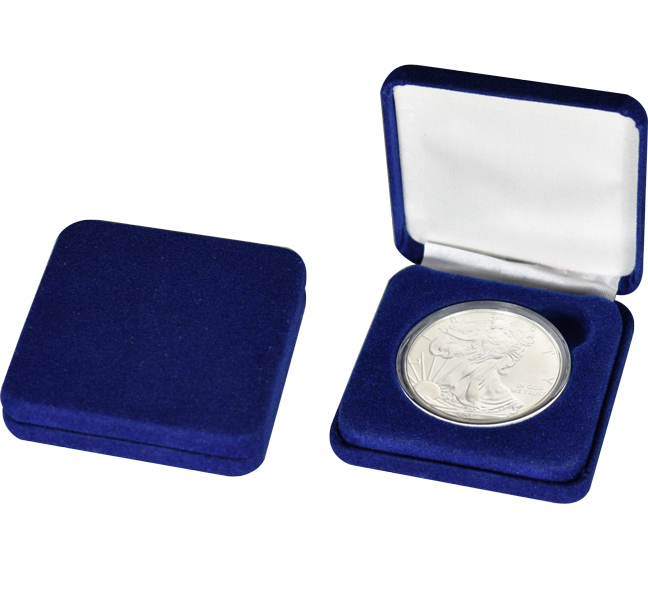 Blue Velour Slim Coin Capsule Box - Holds a L size coin capsule