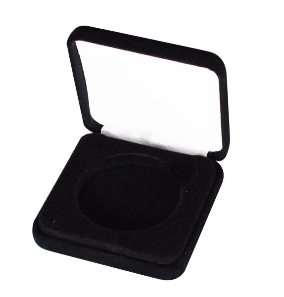 Slim Steel Case Coin Capsule Box - L Vac - Black Leatherette - No Rim