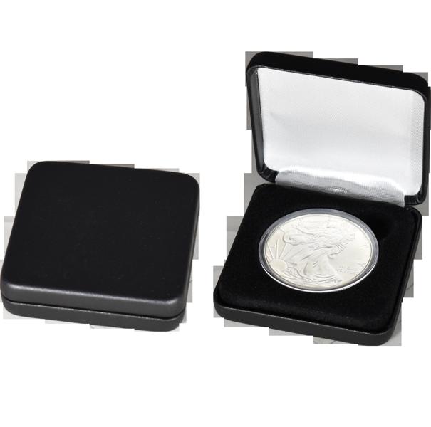 Slim Steel Case Coin Capsule Box - L Vac - Black Leatherette - No Rim