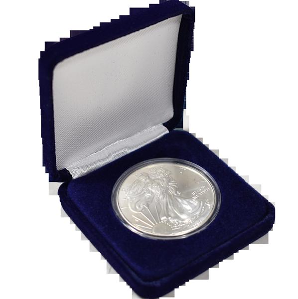 Slim Steel Case Coin Capsule Box - L Vac - Blue Velvet - No Rim