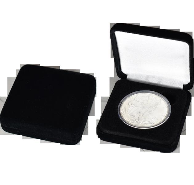 Slim Steel Case Coin Capsule Box - L Vac - Black Velvet - No Rim