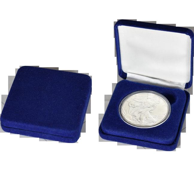 Slim Steel Case Coin Capsule Box - L Vac - Blue Velour - No Rim