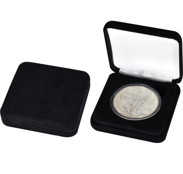 Black Velour Slim Coin Capsule Box - Holds a large size coin capsule