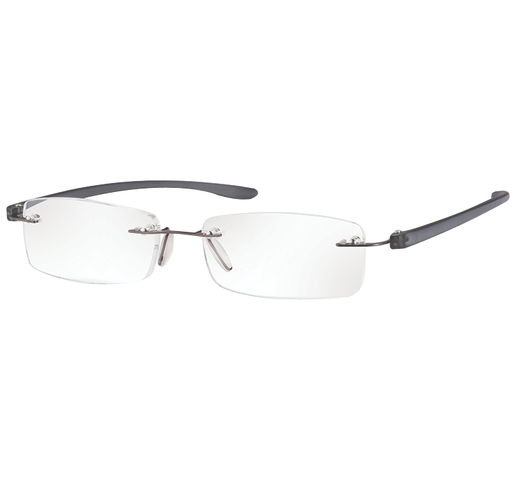 Rimless Magnifying Eye Glasses +2.5 (Anthracite Large)