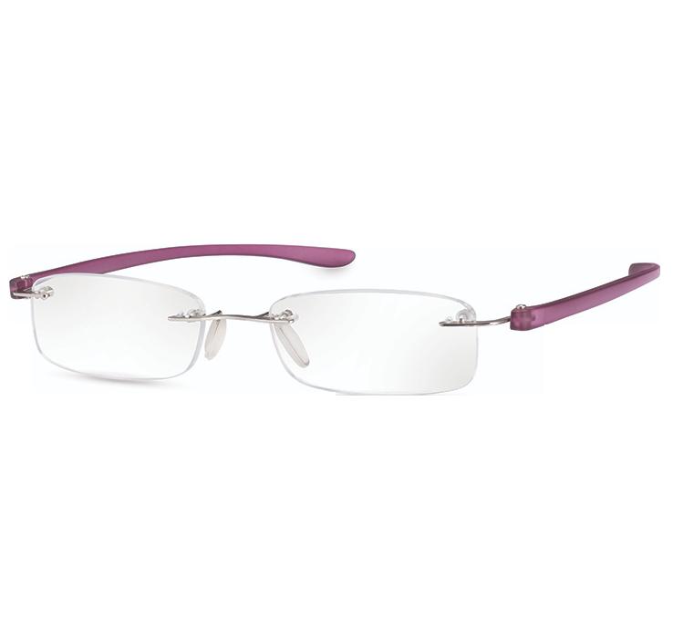 Rimless Magnifying Eye Glasses 2.5x - Purple