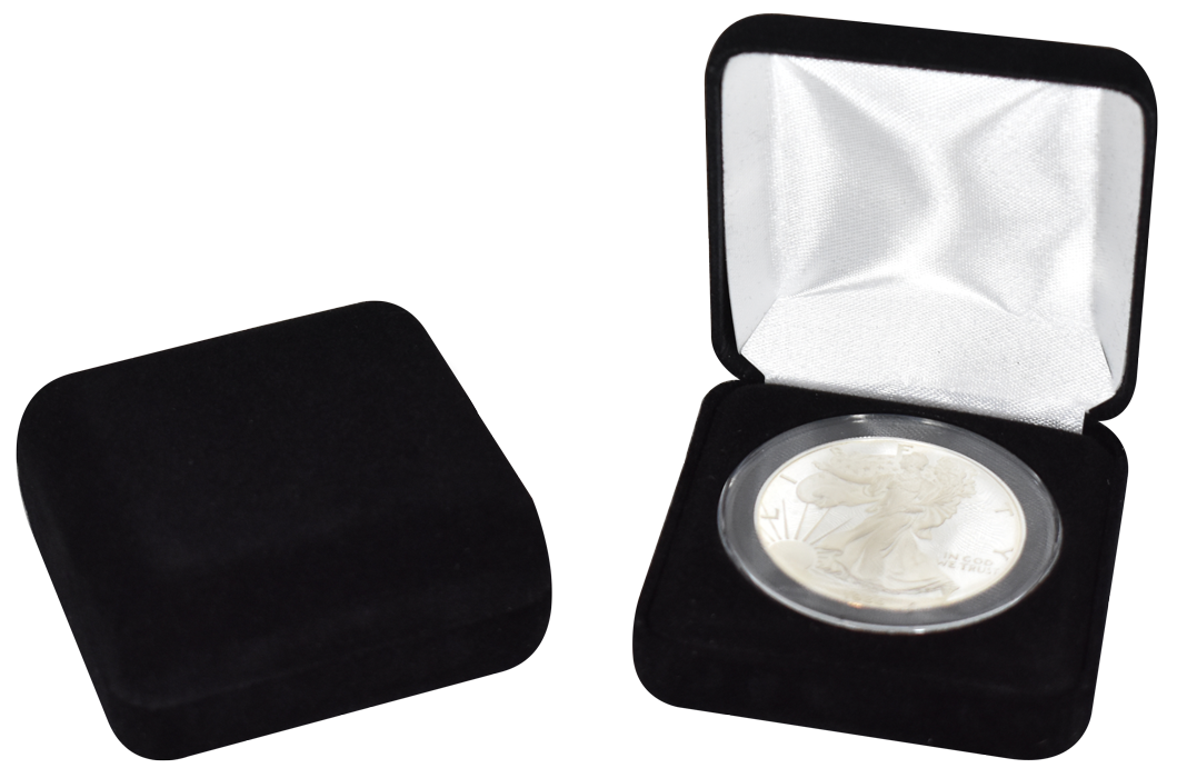 Black Velour Coin Capsule Box - Holds an extra large size coin capsule