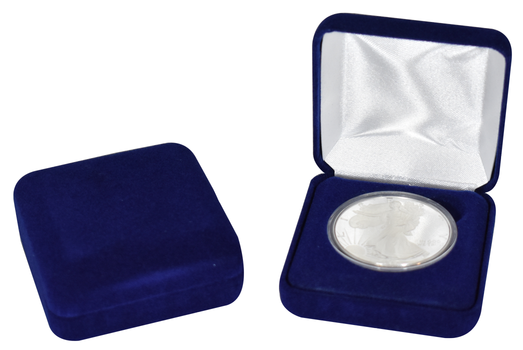 Blue Velour Coin Capsule Box - Holds a large size coin capsule