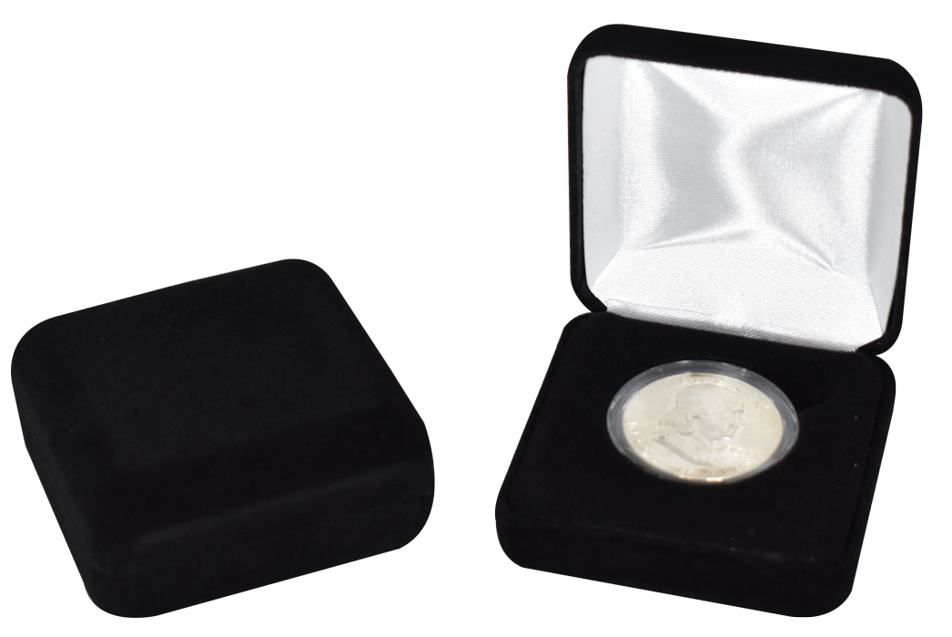 Black Velour Coin Capsule Box - Holds a medium size coin capsule