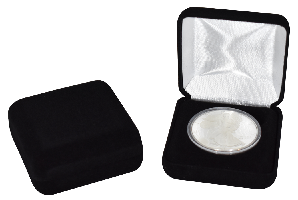 Black Velour Coin Capsule Box - Holds a large size coin capsule