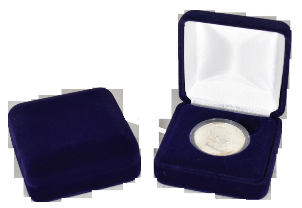 Velvet Coin Capsule Box ( M ) - Navy Blue
