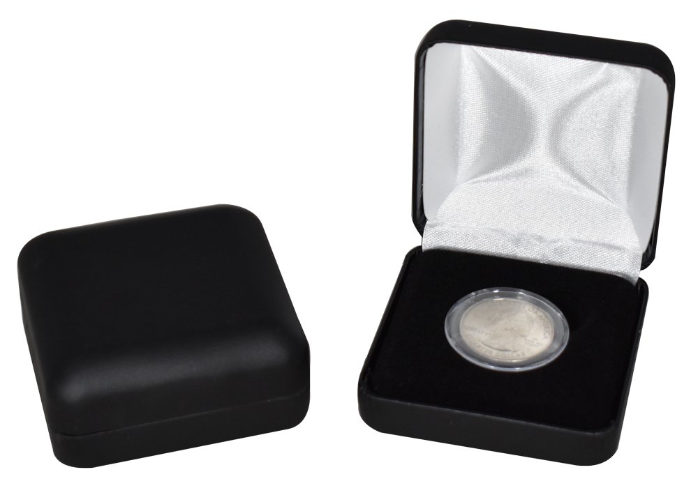 Leatherette Coin Capsule Box for SMALL Capsule - Black