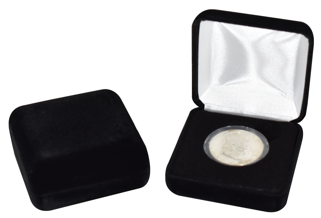 Black Velvet Coin Capsule Box - Holds a medium size coin capsule