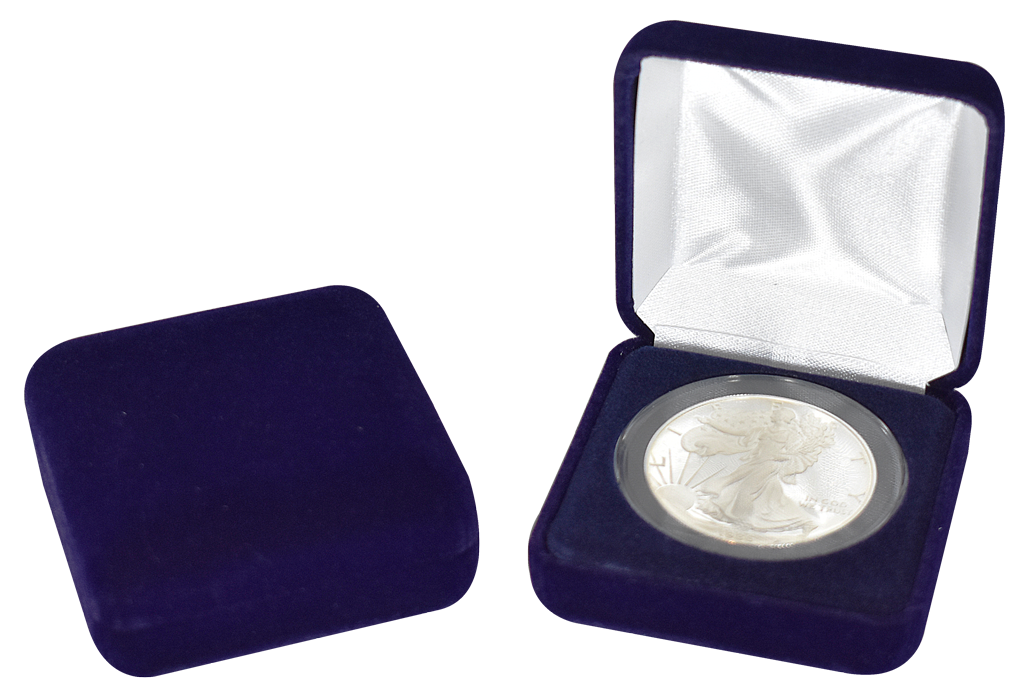 Blue Velvet Coin Capsule Box - Holds an extra large size coin capsule