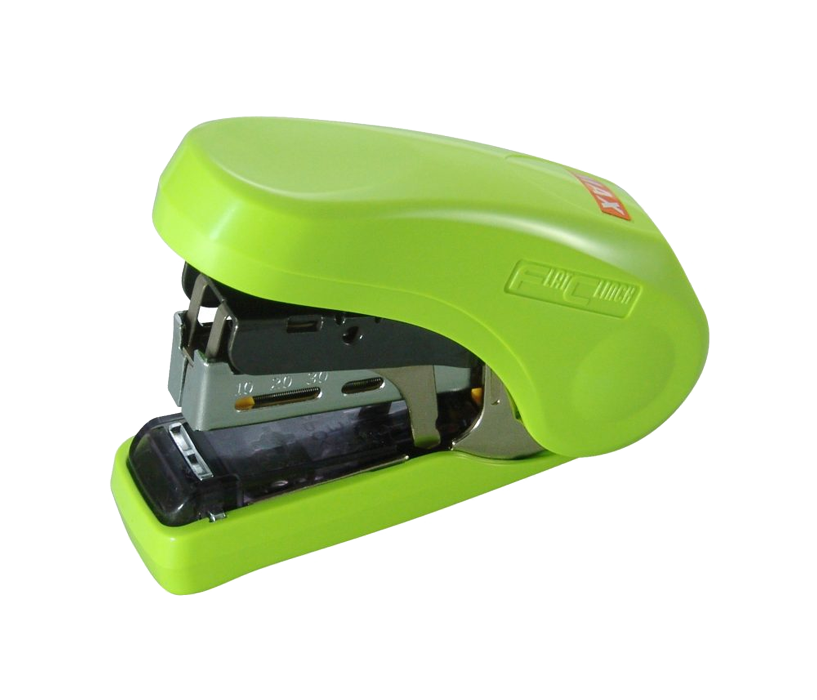Flat Clinch Stapler - Ergonomic Style (Green)