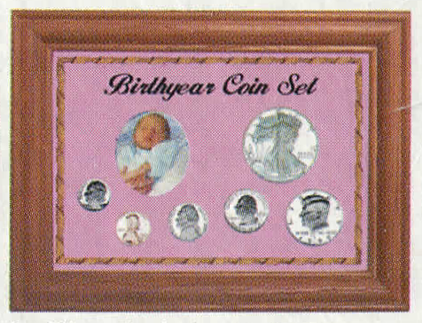Solid Oak Birth Year Coin Set - Penny to ASE - Pink
