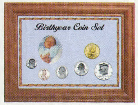 Solid Oak Birth Year Coin Set - Penny to ASE - Blue