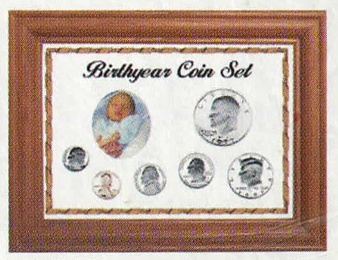 Solid Oak Birth Year Coin Set - Penny to ASE - White