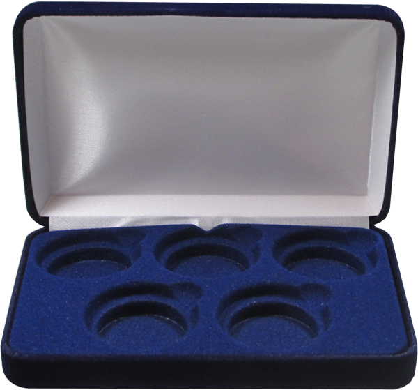 Blue Velvet Coin Display Box - 5 L Capsules