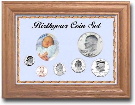 Solid Oak Birthyear Frame Penny thru Large $ - Blue