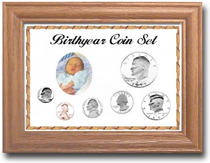 Solid Oak Birthyear Frame Cent thru Large $