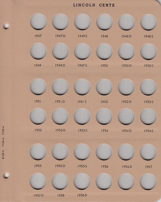 Lincoln Wheat Cents 1909-1958 - Dansco Coin Album 7103 - 22816