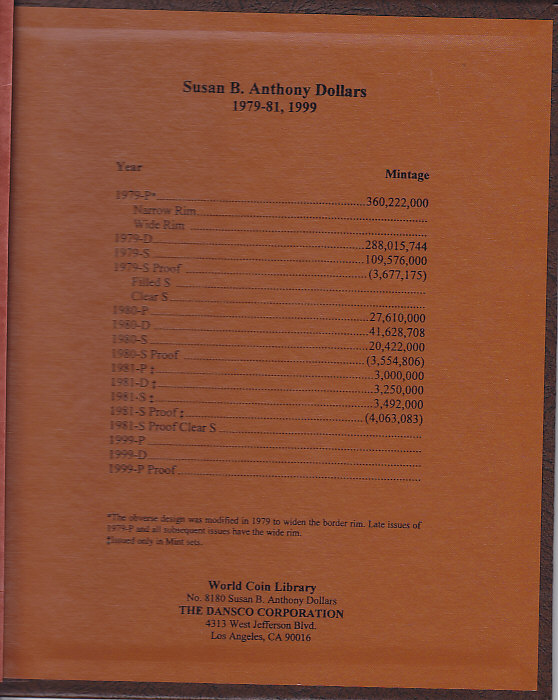 Susan B Anthony Dollars with Proofs - Dansco Coin Album 8180 - 23680