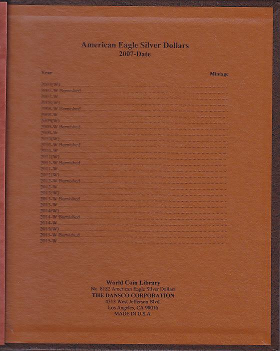 Dansco American Eagle Silver Dollars w/ Proof 8182 - 23713