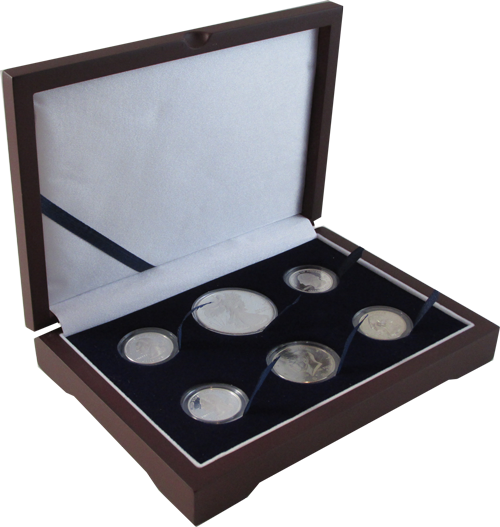 Guardhouse Wood Display Box for 6 Coin Capsules (4S,M,L) Cent through Large Dollar or ASE Guardhouse, Wood, Display Box, -Mint or Proof Set, (Cent through Large Dollar or ASE), GH-W1300: (4S,M,L)
