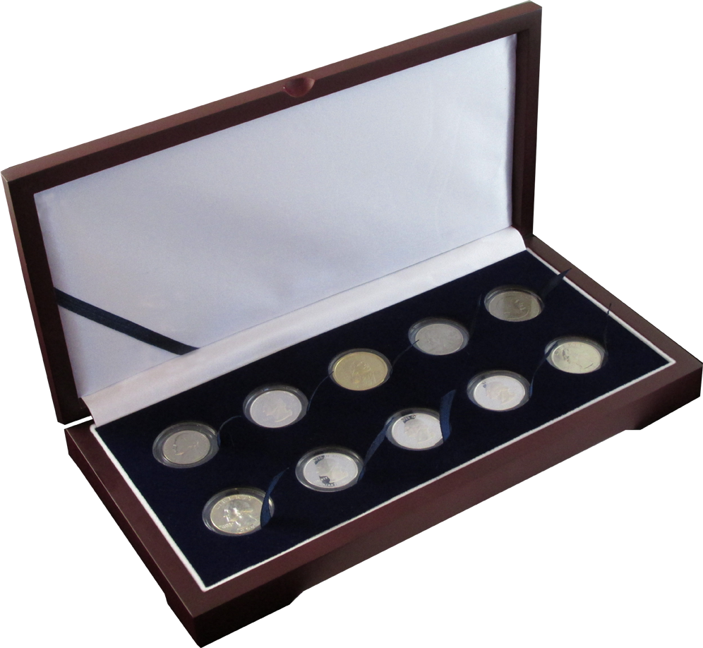 Guardhouse Wood Display Box for 10 Coin Capsules (10S) Guardhouse, Model A, Wood Display Box -10, GH-W1400: (10S)