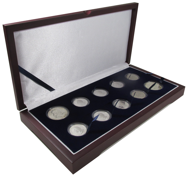 Guardhouse Wood Display Box for 10 Coin Capsules (8S,2M) Two Proof or Mint Sets, Cent through Half Dollar Guardhouse Wood Display Box -8A,2T, GH-W1400: (8S,2M)