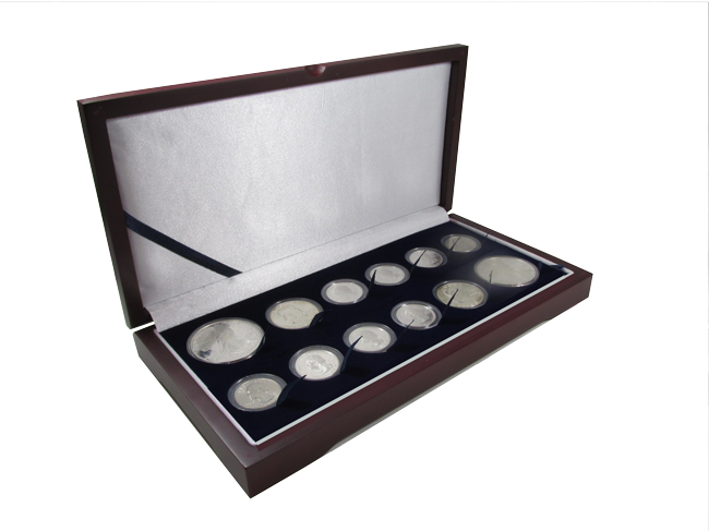 Guardhouse Wood Display Box for 12 Coin Capsules (8S,2M,2L) Two Proof or Mint Sets, Cent through Large Dollar Guardhouse Wood Display Box -8A,2T,2H, GH-W1400: (8S,2M,2L)
