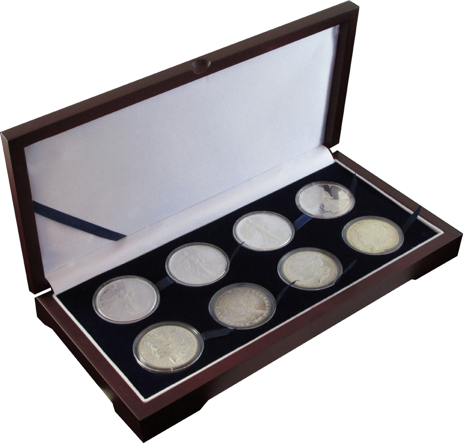 Guardhouse Wood Display Box for 8 Coin Capsules (8L) guardhouse coin display box, wood coin box, silver dollar wood coin box, coin box for 8 coins