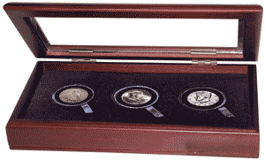 Guardhouse Glass Top Wood Display Box for 3 Coin Capsules (3L) 829740, glass top, coin, display, box, guardhouse, challenge coin