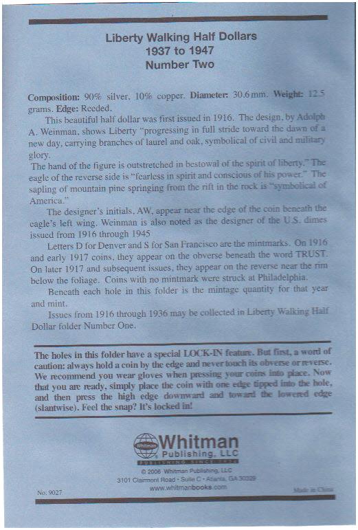 Whitman Liberty Walking Half Dollar #2 Coin Folder 6x7.75 - 22040