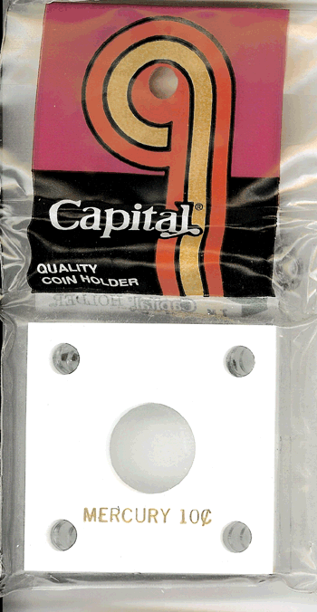 Mercury Dime Capital Plastics Coin Holder 144 White 2x2 Mercury Dime Capital Plastics Coin Holder 144 White, Capital, 144