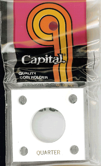 Quarter Capital Plastics Coin Holder 144 White 2x2 Quarter Capital Plastics Coin Holder 144 White, Capital, 144