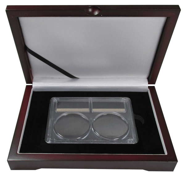Wood Display Box - 2 Coin PCGS Slab