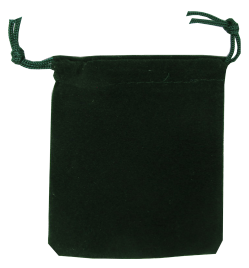 Velour Drawstring Pouch - 2.75x3.25 Green