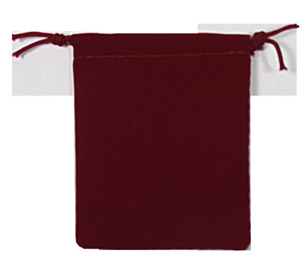 Velvet Drawstring Pouch - 2.75x3.25 Maroon