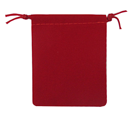Velvet Drawstring Pouch - 2.75x3.25 Red