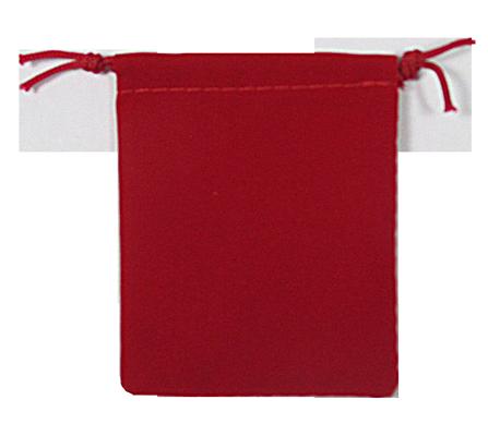 Velvet Drawstring Pouch - 2.75x3.25 Red