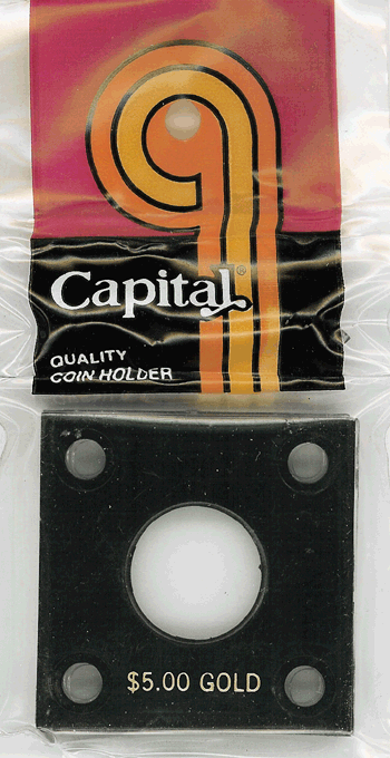 $5 Gold Capital Plastics Coin Holder 144 Black 2x2 $5 Gold Capital Plastics Coin Holder 144 Black, Capital, 144