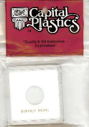Buffalo Nickel Capital Plastics Coin Holder Krown White 2.5x2.5 Buffalo Nickel Capital Plastics Coin Holder Krown White, Capital, Krown