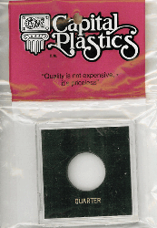 Quarter Capital Plastics Coin Holder Krown Black 2.5x2.5 Quarter Capital Plastics Coin Holder Krown Black, Capital, Krown