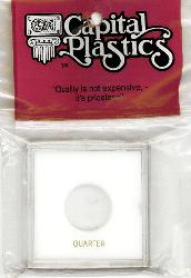 Quarter Capital Plastics Coin Holder Krown White 2.5x2.5 Quarter Capital Plastics Coin Holder Krown White, Capital, Krown