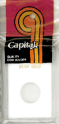 $5 Gold Capital Plastics Coin Holder Caps White 2x3 $5 Gold Capital Plastics Coin Holder Caps White, Capital, Caps