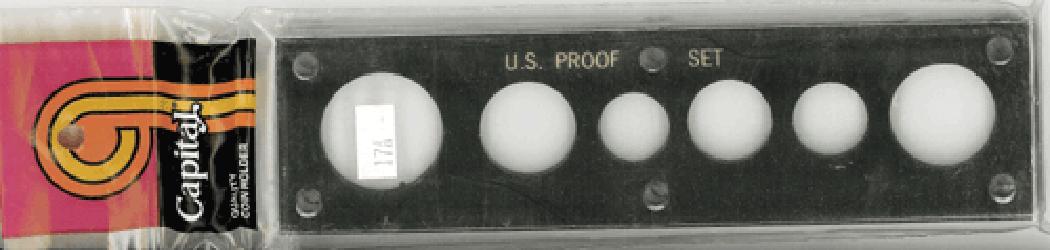 US Proof Set w/ Small Dollar Capital Plastics Holder Black 2x7.5 US Proof Set w/ Small Dollar Capital Plastics Holder Black, Capital, 17A Black