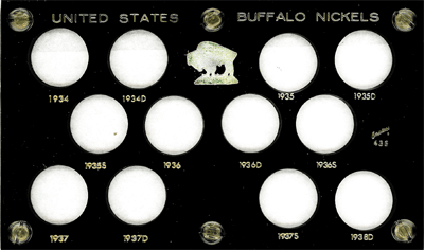 Buffalo Nickels 1934 Capital Plastics Coin Holder Black 3.5x6